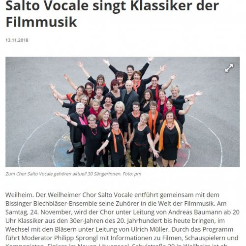 Salto Vocale singt Klassiker der Filmmusik